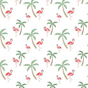 Flamingo & Palm Trees // hawaii print tropical bird tree