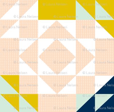 Blush // Mustard Cross HST Quilt