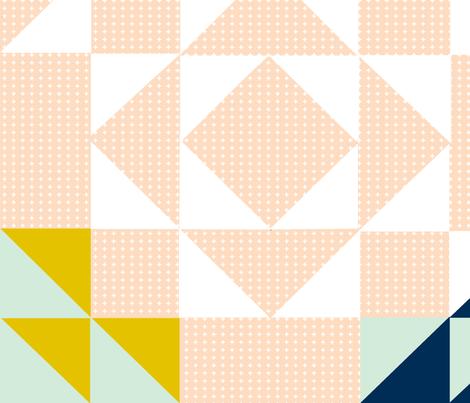 Blush // Mustard Cross HST Quilt fabric by tycdesignco on Spoonflower - custom fabric