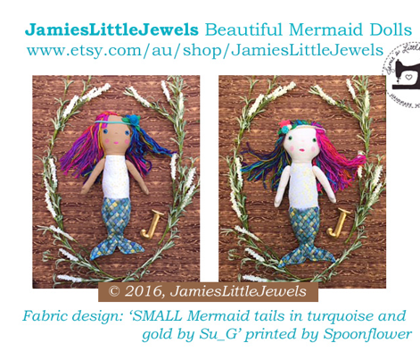 SMALL Mermaid tails in turquoise and gold by Su_G