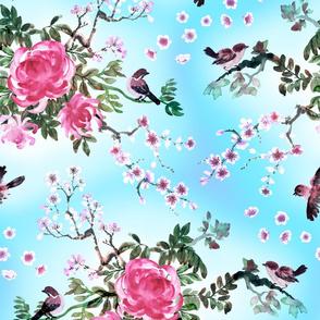 Birds and pink chrysanthemums