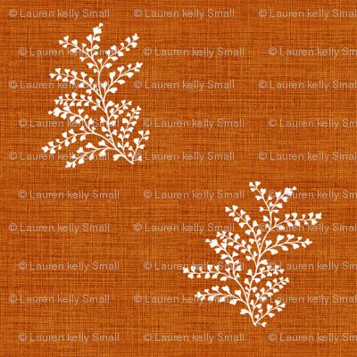Delicate Fern I, Burnt Red Orange