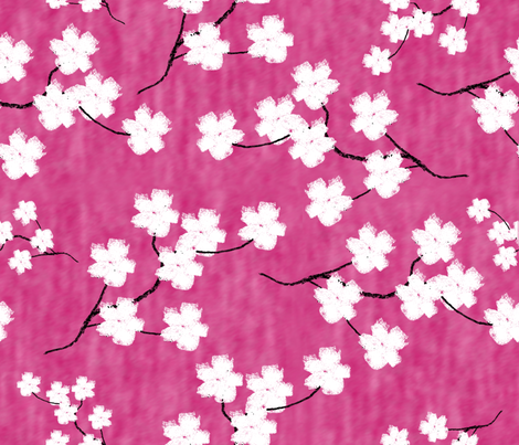 Sumi-E Inspired Sakura Blossoms fabric by themadcraftduckie on Spoonflower - custom fabric