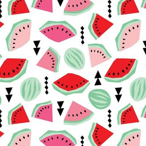 Lush summer watermelon fruit geometric water melon colorful tropical design red pink mint