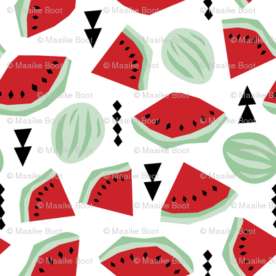Lush summer watermelon fruit geometric water melon colorful tropical design red gender neutral