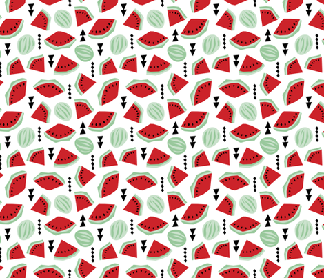 Lush summer watermelon fruit geometric water melon colorful tropical design red gender neutral fabric by littlesmilemakers on Spoonflower - custom fabric