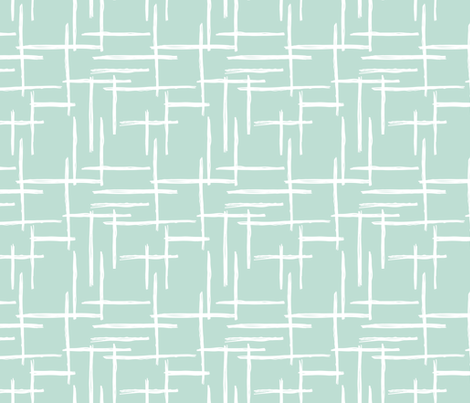 Abstract geometric raster checkered stripe stroke and lines trend pattern grid mint fabric by littlesmilemakers on Spoonflower - custom fabric