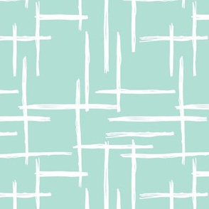 Abstract geometric raster checkered stripe stroke and lines trend pattern grid mint