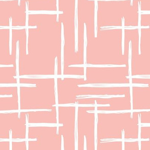 Abstract geometric raster checkered stripe stroke and lines trend pattern grid pink