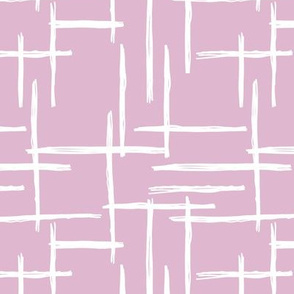 Abstract geometric raster checkered stripe stroke and lines trend pattern grid lilac violet