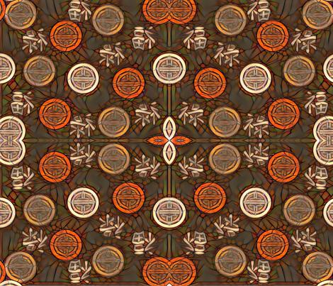 Orange Chinese Medallions fabric by gargoylesentry on Spoonflower - custom fabric
