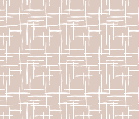 Abstract geometric raster checkered stripe stroke and lines trend pattern grid gender neutral beige fabric by littlesmilemakers on Spoonflower - custom fabric