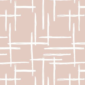 Abstract geometric raster checkered stripe stroke and lines trend pattern grid gender neutral beige