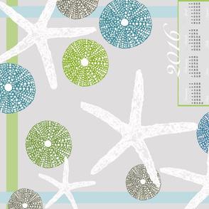 Sea Urchins & Starfish Tropical 2016 Calendar Towel