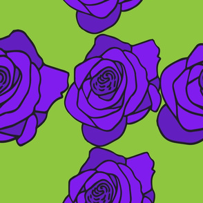 Purple Rose with Green Background