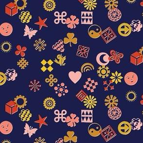 Match Game* (Pinks on Jackie Blue) || typography ornaments symbols pictographs toss starburst geometric star butterfly bird sun shamrock flower heart scatter