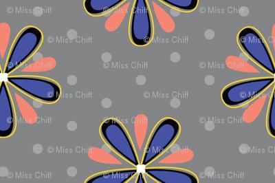 16-07b Coral orange royal blue Abstract Scandinavian floral || Flower gray grey polka dot _ Miss Chiff Designs