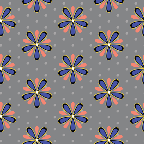 16-07b Coral orange royal blue Abstract Scandinavian floral || Flower gray grey polka dot _ Miss Chiff Designs fabric by misschiffdesigns on Spoonflower - custom fabric