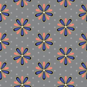 16-07b Coral orange royal blue Abstract Scandinavian floral || Flower gray grey polka dot _ Miss Chiff Designs