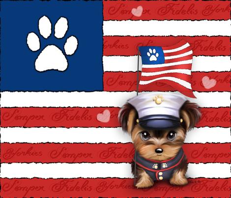 Semper Fidelis Yorkie Marine Puppy Panel fabric by catialee on Spoonflower - custom fabric