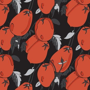 Midnight Garden Tomato || Black Gray Orange Red Fruit Vegetable Leaves _Miss Chiff Designs