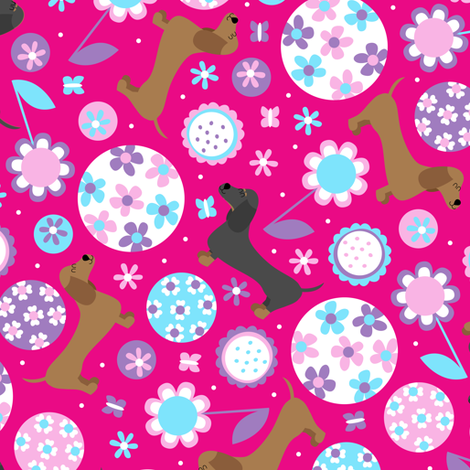 Dachshund Garden Party (Hot Pink) fabric by robyriker on Spoonflower - custom fabric