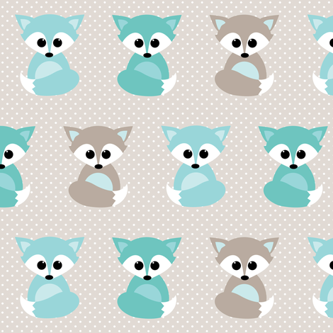 Baby foxes in mint fabric by heleenvanbuul on Spoonflower - custom fabric
