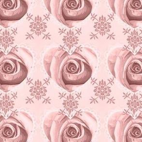 Damask Rose Doilie Heart