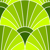 art deco fan scale : verdant green
