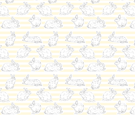 Yellow Bunny Pattern fabric by fromtheartstudio on Spoonflower - custom fabric