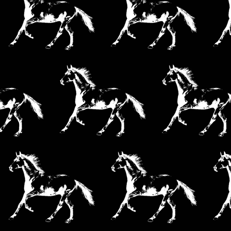 """Horse Trot - Black - Small (2.5"""") fabric by thin_line_textiles on Spoonflower - custom fabric"""