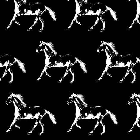 "Horse Trot - Black - Small (2.5"") fabric by thin_line_textiles on Spoonflower - custom fabric"