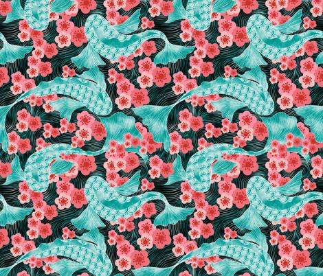 Koi 鯉 Pond Under Cherry Tree  櫻; さくら fabric by vo_aka_virginiao on Spoonflower - custom fabric