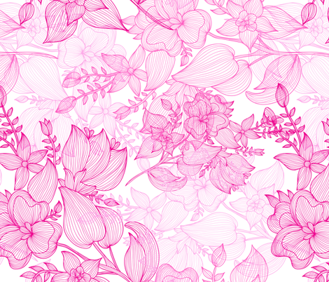 pink flowers fabric by chantall on Spoonflower - custom fabric