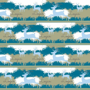 Blue Deer-stripes 3-aqua blue personalized Logan