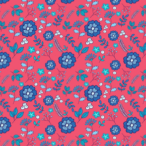 Blue flowers on dusty pink