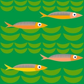 green scene midcentury fish