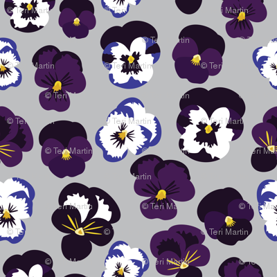 Pansies on blue