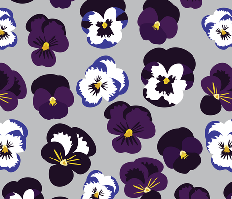 Pansies on blue fabric by vieiragirl on Spoonflower - custom fabric