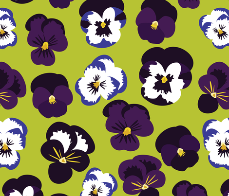 Pansies on Green fabric by vieiragirl on Spoonflower - custom fabric