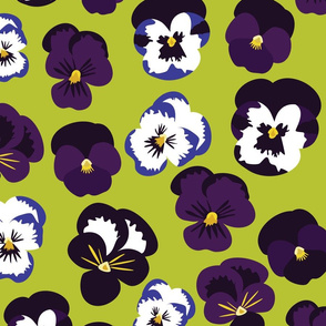 Pansies on Green
