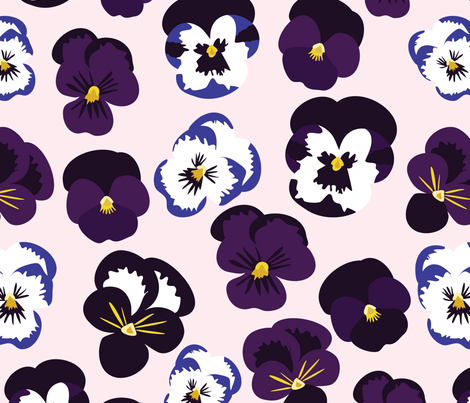 Pansies on Pink fabric by vieiragirl on Spoonflower - custom fabric