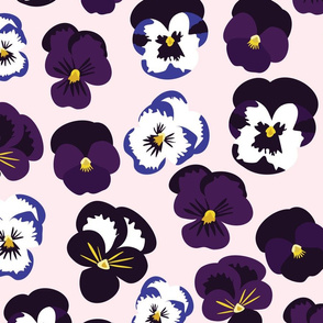 Pansies on Pink