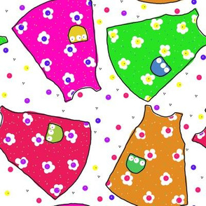 Little Pinafores - pink/red/green/orange