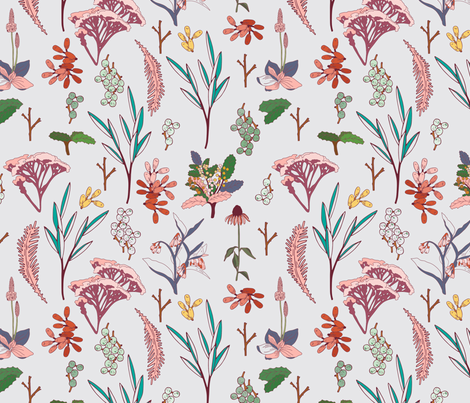 herbal_study_grey fabric by holli_zollinger on Spoonflower - custom fabric
