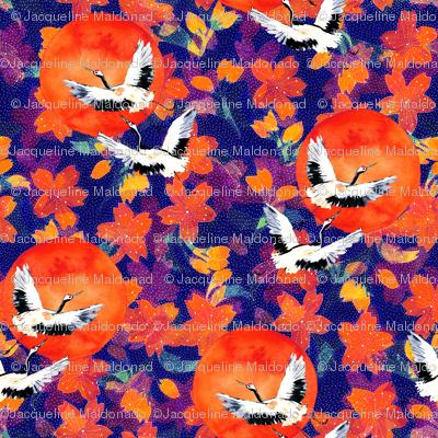 Japanese Garden: Cranes, Suns Blossoms DK