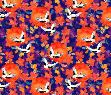 Japanese Garden: Cranes, Suns Blossoms DK fabric by mjmstudio on Spoonflower - custom fabric