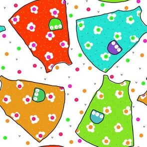Little Pinafores - red/tangerine/aqua/lime
