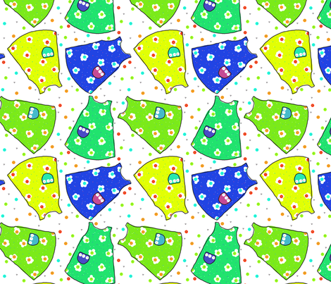 Little Pinafores - yellow/lime/seafoam/blue fabric by designergal on Spoonflower - custom fabric