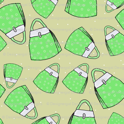Purses - green on taupe